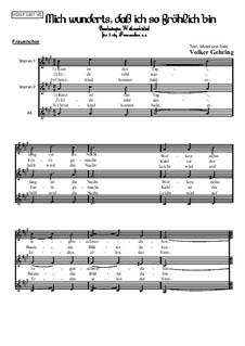 Weihnachtliches: Mich wunderts, dass ich so fröhlich bin: Für Frauenchor, Op.003 F by Volker Gehring