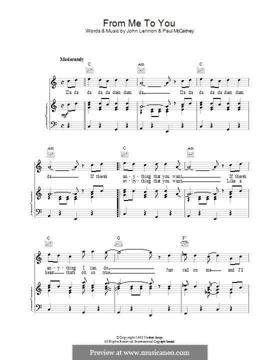 From Me to You (The Beatles): For voice and piano (or guitar) by John Lennon, Paul McCartney