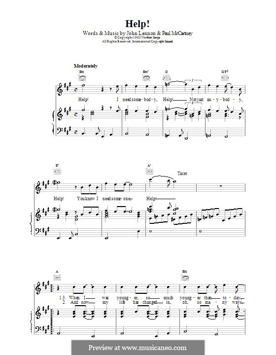 Help! (The Beatles): For voice and piano or guitar by John Lennon, Paul McCartney