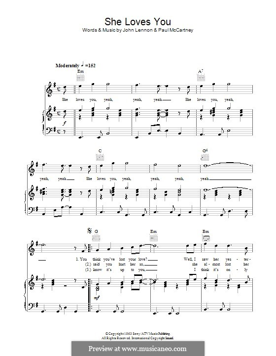 She Loves You (The Beatles): For voice and piano or guitar by John Lennon, Paul McCartney