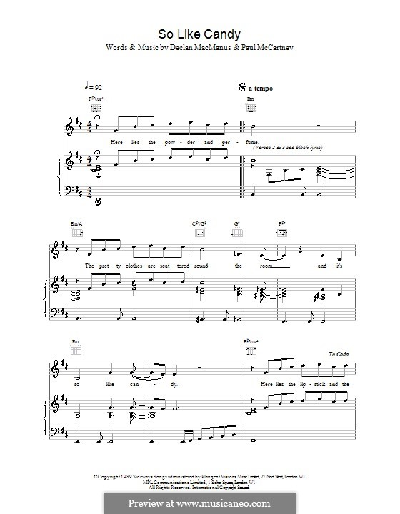 So Like Candy: For voice and piano (or guitar) by Paul McCartney
