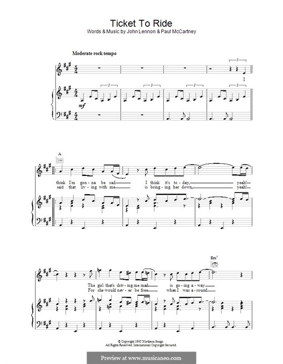 Ticket to Ride (The Beatles): For voice and piano or guitar by John Lennon, Paul McCartney