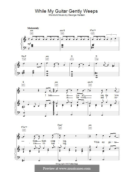 While My Guitar Gently Weeps (The Beatles): For voice and piano (or guitar) by George Harrison