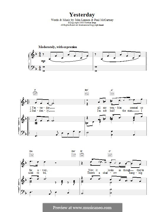 Yesterday (The Beatles): For voice and piano or guitar (F Major) by John Lennon, Paul McCartney