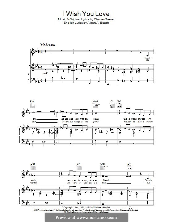 I Wish You Love: For voice and piano (or guitar) by Charles Trenet