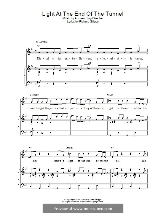 Light at the End of the Tunnel: For voice and piano (or guitar) by Andrew Lloyd Webber