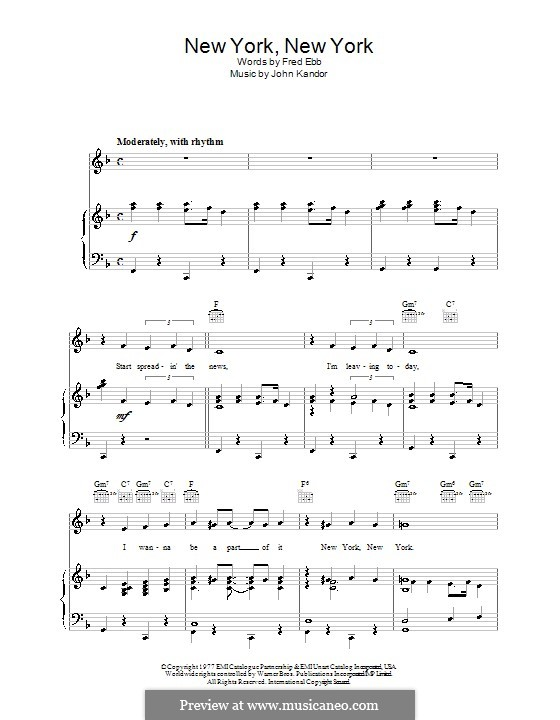 New York, New York (Frank Sinatra): For voice and piano (or guitar) by John Kander