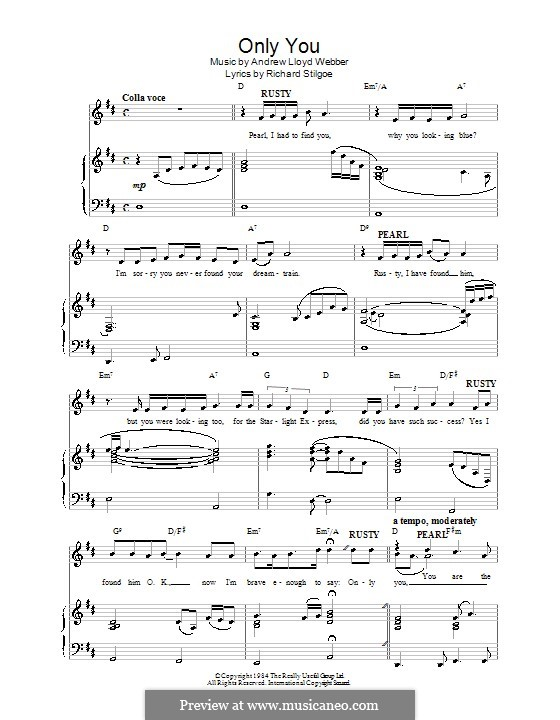 Only You (Fragment): For voice and piano (or guitar) by Andrew Lloyd Webber