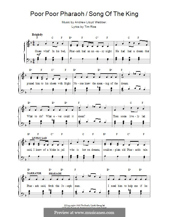 Poor Poor Pharaoh / Song of the King: For voice and piano (or guitar) by Andrew Lloyd Webber