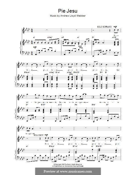 Pie Jesu (from Requiem): For voice and piano (or guitar) by Andrew Lloyd Webber