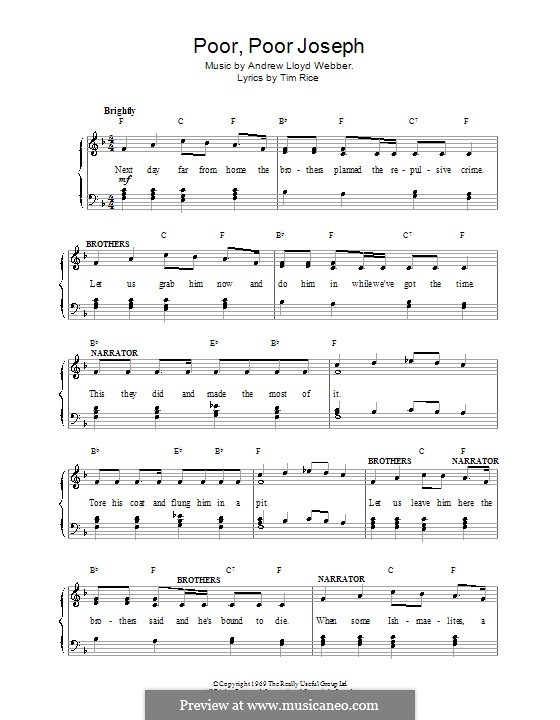 Poor Poor Joseph: For voice and piano (or guitar) by Andrew Lloyd Webber