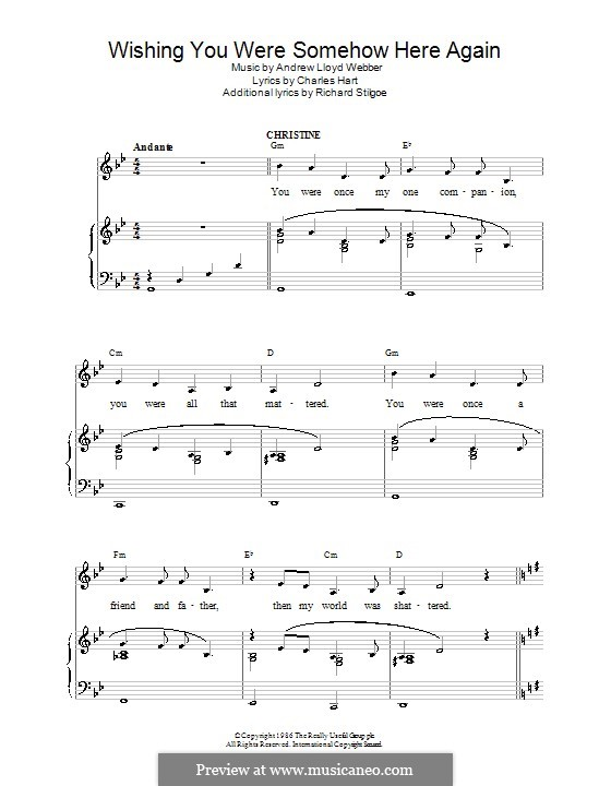 Wishing You Were Somehow Here Again: For voice and piano (or guitar) by Andrew Lloyd Webber