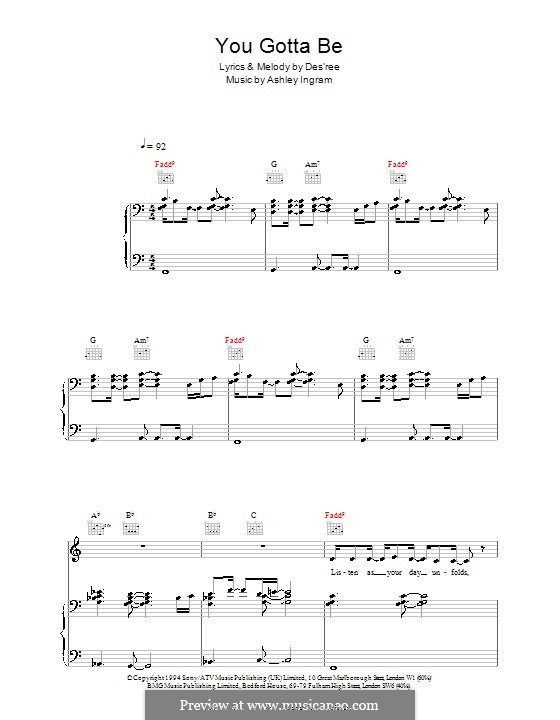 You Gotta Be: For voice and piano (or guitar) by Des'ree, Ashley Ingram