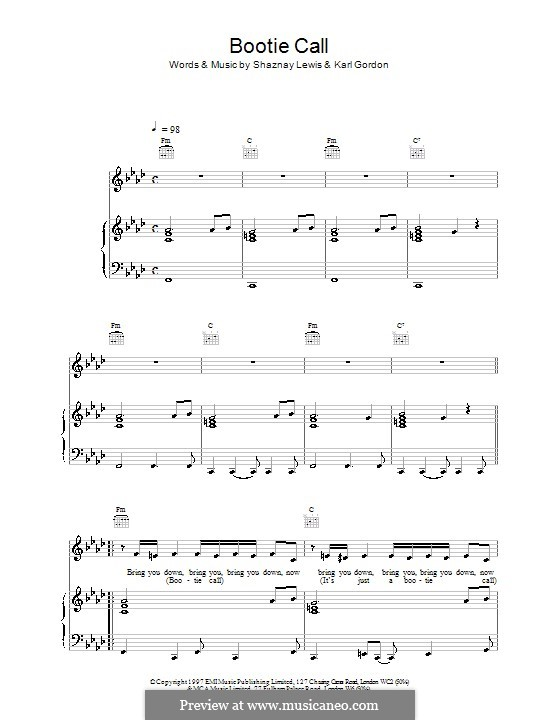 Bootie Call (All Saints): For voice and piano (or guitar) by Karl Gordon