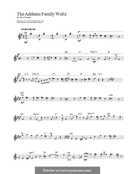 Addams Family Waltz: Melody line, lyrics and chords by Marc Shaiman