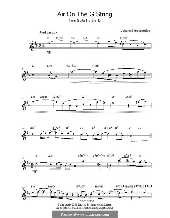 Aria (Printable Scores): Version for voice by Johann Sebastian Bach
