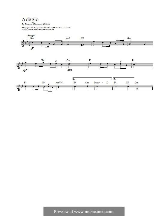 Adagio in G Minor: For voice by Tomaso Albinoni