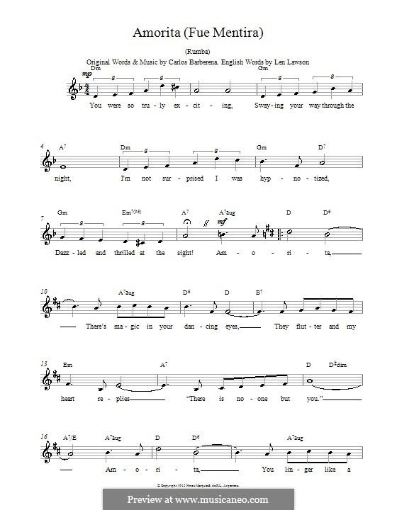 Amorita (Fue Mentira): Melody line, lyrics and chords by Carlos Barberena