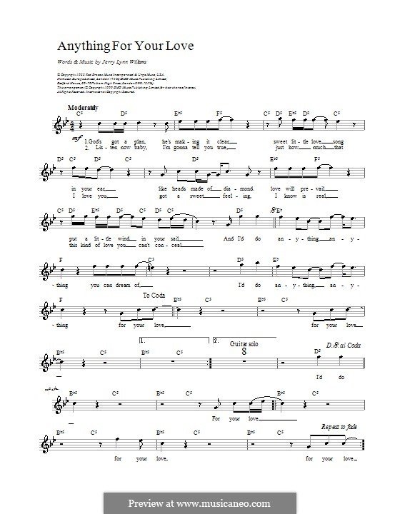 Anything For Your Love By Jl Williams Sheet Music On Musicaneo