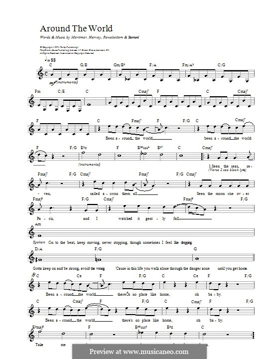 Around the World: Melody line, lyrics and chords by East 17, Matt Rowe, Richard Stannard