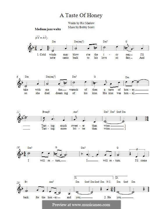 A Taste of Honey (Barbra Streisand): Melody line, lyrics and chords by Bobby Scott
