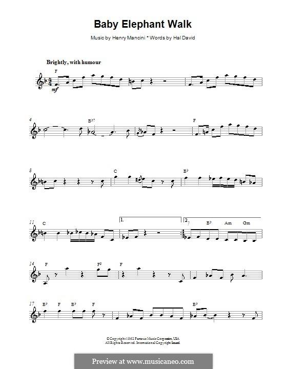 Baby Elephant Walk: Melody line, lyrics and chords by Henry Mancini