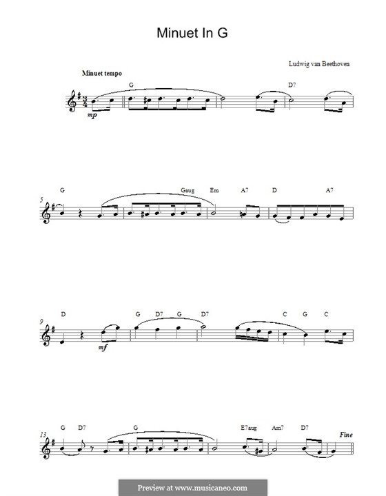 Minuet in G Major: Melody line, lyrics and chords by Ludwig van Beethoven