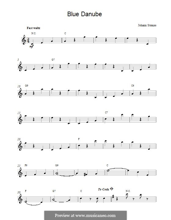 On the Beautiful Blue Danube, Op.314: Melody line by Johann Strauss (Sohn)