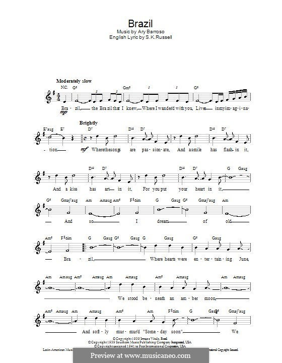 Brazil (The Ritchie Family): Melody line, lyrics and chords by Ary Barroso