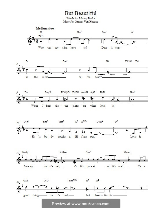 But Beautiful By Jv Heusen Sheet Music On Musicaneo