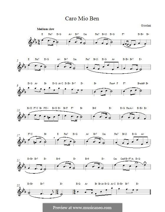 Caro mio ben (O Maiden Dear): Melody line by Tommaso Giordani