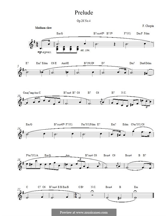 No.4 in E Minor: Melody line, lyrics and chords by Frédéric Chopin