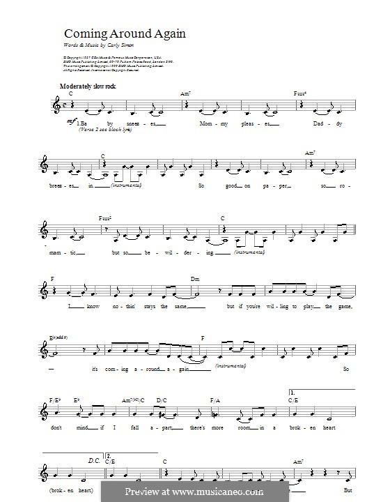 Coming Around Again: Melody line, lyrics and chords by Carly Simon