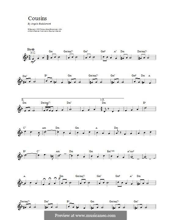 Cousins (Love Theme): Melody line, lyrics and chords by Angelo Badalamenti