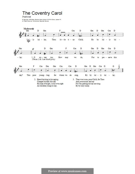 Coventry Carol: Melody line, lyrics and chords by folklore