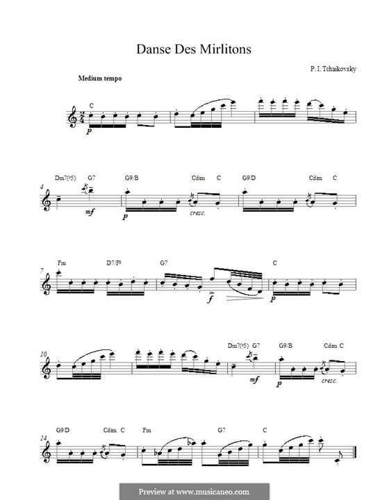 No.7 Dance of the Mirlitons: Melody line and chords by Pyotr Tchaikovsky