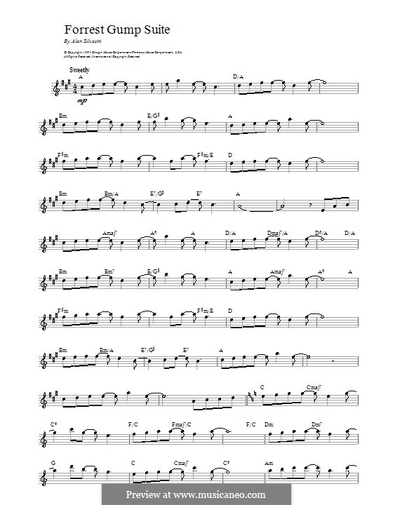 Forrest Gump Suite (Theme): Melody line, lyrics and chords by Alan Silvestri