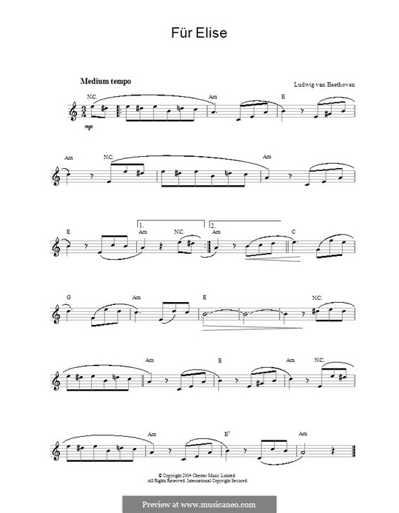 For Elise, WoO 59: Melody line, lyrics and chords by Ludwig van Beethoven