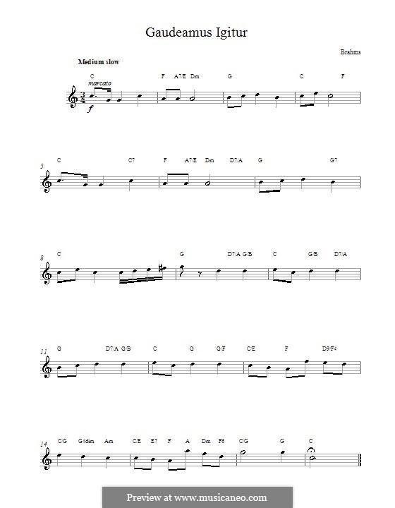 Gaudeamus Igitur: Melody line, lyrics and chords by Johannes Brahms