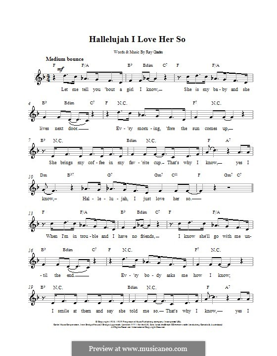 Hallelujah I Love Her So By R Charles Sheet Music On Musicaneo