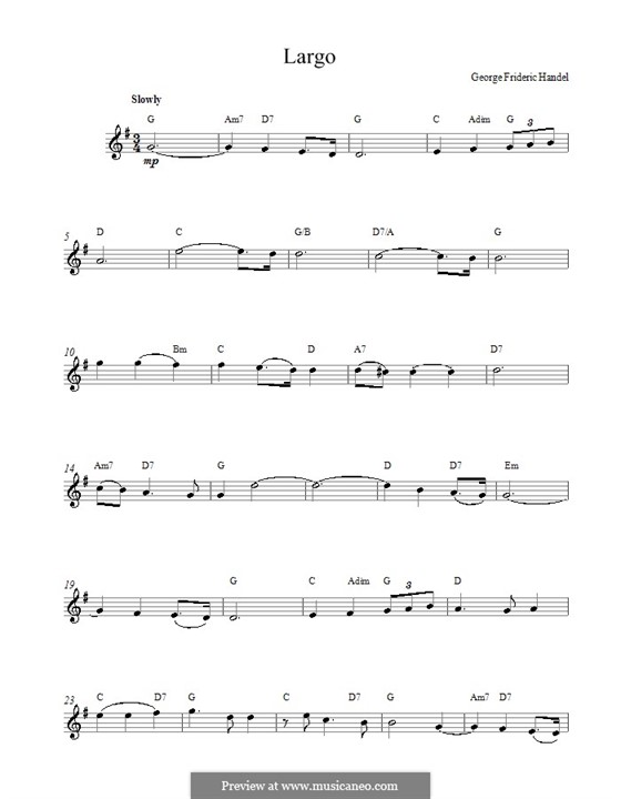 Largo: Melody line, lyrics and chords by Georg Friedrich Händel