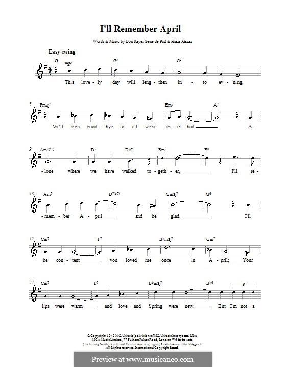 I'll Remember April (Woody Herman): Melody line, lyrics and chords by Don Raye, Gene de Paul, Patricia Johnson
