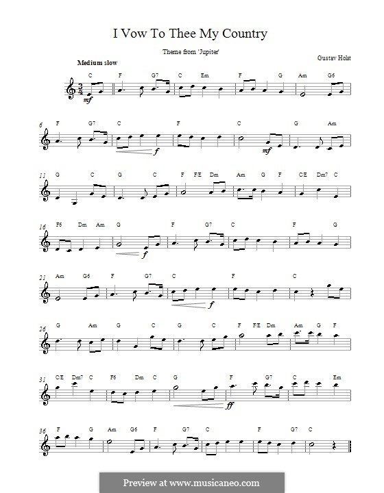 I Vow to Thee My Country: Lyrics and chords by Gustav Holst