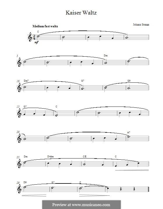 Emperor Waltz, Op.437: Melody line by Johann Strauss (Sohn)