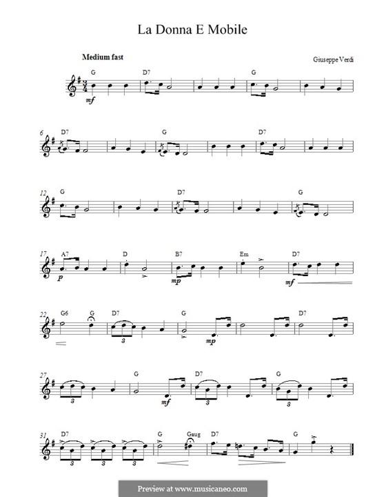La donna è mobile (Over the Summer Sea): Melody line by Giuseppe Verdi