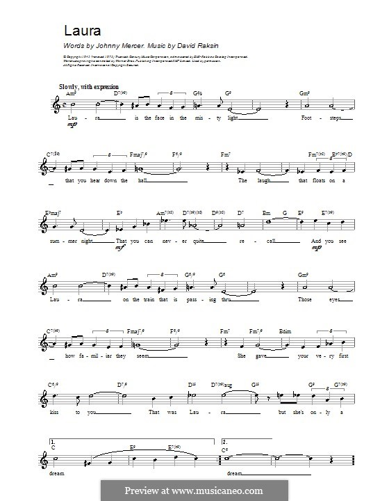Laura (Frank Sinatra): Melody line, lyrics and chords by David Raksin