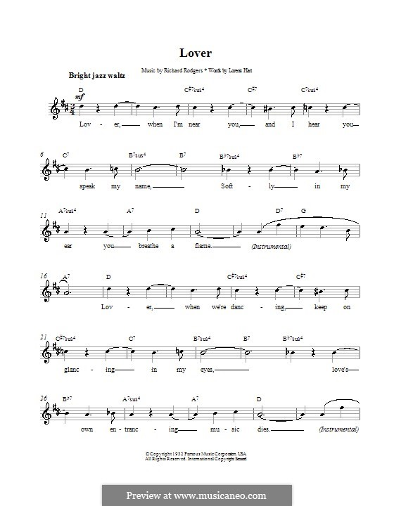 Lover: Melody line, lyrics and chords by Richard Rodgers
