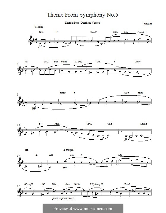 Symphony No.5 in C Sharp Minor: Adagietto. Melody line, lyrics and chords by Gustav Mahler