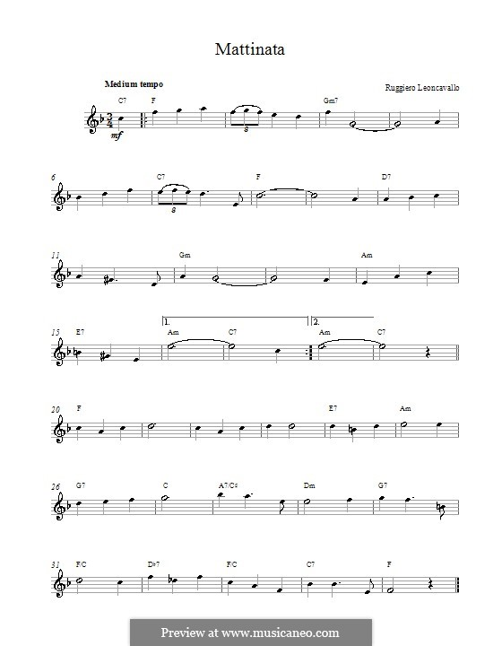 Mattinata: Melody line and chords by Ruggero Leoncavallo