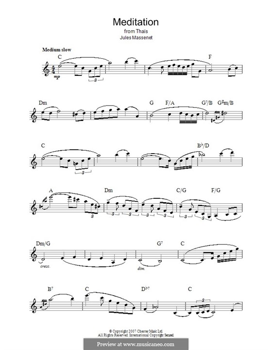 Meditation: Melody line, lyrics and chords by Jules Massenet